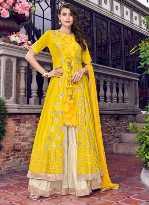 Yellow Tussar Satin Party Wear Sharara Suit