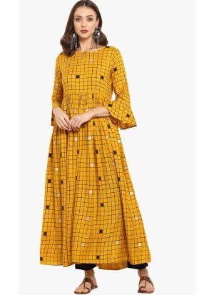 Yellow Viscose Rayon New Kurti Design