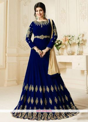 Zubeda 602 Blue 60 Gm Georgette Wedding Anarkali Salwar Suit