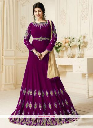 Zubeda 602 Purple Heavy Embroidery Designer Floor Length Salwar Suit