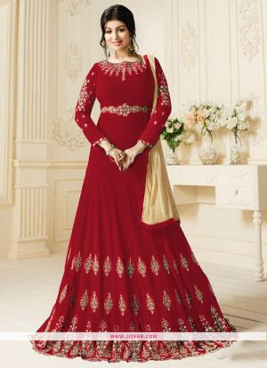 Zubeda 602 Red Heavy Embroidery Designer Anarkali Salwar Suit