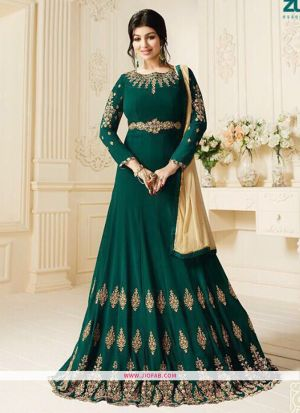 Zubeda Posh Collection Green Pure Georgette Traditional Anarkali Salwar Suit