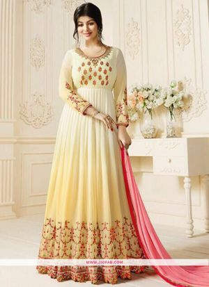 Zubeda Posh Collection Light Cream Heavy Embroidery Designer Anarkali Suit