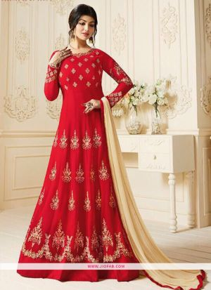 Zubeda Posh Collection Red Heavy Embroidery Designer Anarkali Salwar Suit